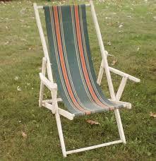 vintage wood deck beach chair canvas sling retro 50 u0027s mcm lounge