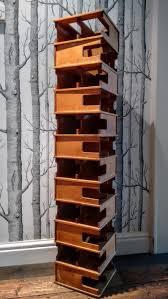 striking bauhaus modernist floor standing wine rack in maple