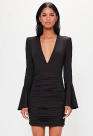 peace love black plunge bell sleeve bodycon dress missguided