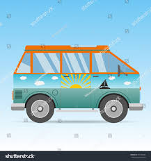 volkswagen van cartoon vintage sunny sea color orange travel stock illustration 577189684