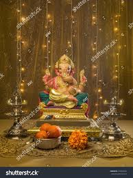 ganesha idol elaborate indian pooja set stock photo 219330451