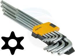 hex key set 9pcs extra long arm torx hex key set star with shaft pin