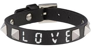 black leather love bracelet images Lyst valentino leather rockstud lovebracelet in black jpeg