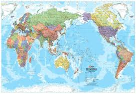 Great Britain On World Map by World Political Map Pacific Centred Hema Buy Hema World Map