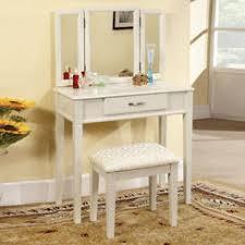 Mirrored Vanity Stool Bedroom Vanity Sets Light Finish Sears
