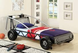 furniture red racing car bed having whell accent added with