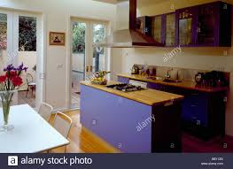 Kitchen Island Worktop by Wooden Worktop On Blue Island Unit In Modern Openplan Kitchen