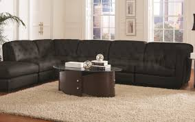 living room leather dark black with tufted microfiber sectional