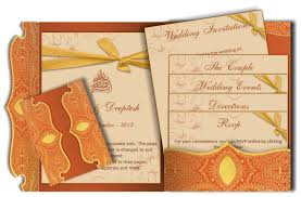 traditional indian wedding invitations traditional indian e wedding card in orange gold luxury