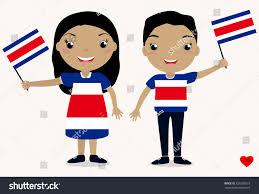 Costarican Flag Smiling Chilldren Boy Holding Costa Stock Vector 726380518