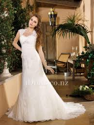 queen anne neckline a line keyhole back lace wedding dress idress