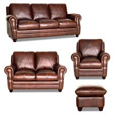 Klaussner Vaughn Sofa Soloman 4 Piece Collection Chocolate Brown Leather With Diamond