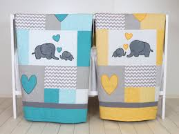 Yellow And Gray Crib Bedding by Twin Baby Quilts Elephant Crib Bedding Turquoise Blue Yellow