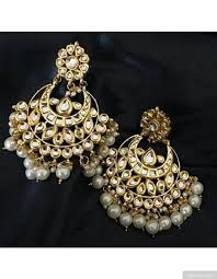 chandbali earrings kundan chandbali earrings with pearl drops