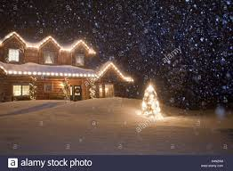 christmas lights that look like snow falling christmas tree lights snow forest stock photos christmas tree