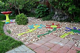 recycled bricks from an old fireplace turned into colorful yard