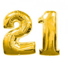 21 Large Gold Number 21 Balloons