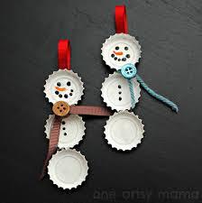 bottle cap snowman ornaments one artsy