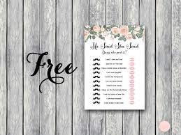 coed bridal shower free floral he said she said bows