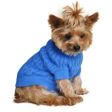 cable knit sweater by doggie design riverside blue with same
