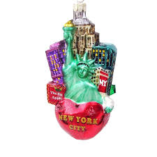big apple new york city glass ornament c4108
