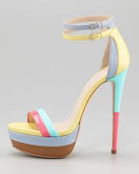 mixed color women sandal one strap platform high heels stilettos