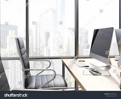 Office Chair Top View Clipart Side View Office Workplace Blank Computer Stock Illustration