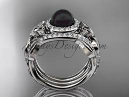 White Gold Wedding Ring Sets by Black Pearl Double Band White Gold Wedding Ring Ctbp7300s