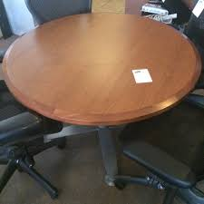 used round office table used steelcase 42 round table laminate with wood edge cognac