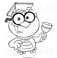 clipart owl black and white vector of a black and white happy professor owl ringing a bell by