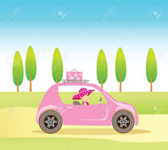 cartoon convertible car cute vintage style driving a pink luxorious convertible