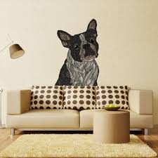 boxer dog wall art boston terrier dog animal art wall sticker decal barkysimeto by