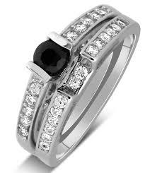 unique engagement ring settings 1 carat unique black and white round diamond wedding ring set in
