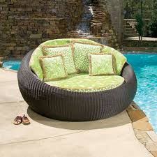 Patio Chaise Lounge Furniture Outdoor Furniture Round Patio Chaise Lounge With Green