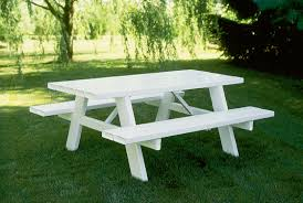 Wooden Picnic Tables With Separate Benches 6 U0027 And 8 U0027 Vinyl Picnic Tables Available In Choice Of White Or