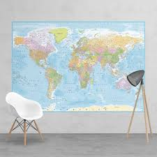 political blue world map feature wall wallpaper mural political blue world map feature wall wallpaper mural 158cm x 232cm