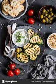 id cuisine simple grilled zucchini olives tomatoes ciabatta simple snack or