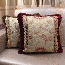 european lotus flowers birds jacquard luxury pillow case with lace