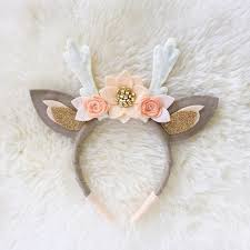deer ears headband deer antler crown headband and boho felt flower
