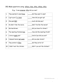 exercises wh question words worksheet free esl printable