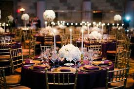 New York Themed Centerpieces by Gatsby Inspired Jewish Wedding With Purple U0026 Gold Décor In New
