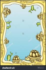 decorative frame background many tortoises cactuses stock vector