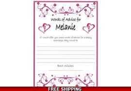 advice for cards personalised hen party bridal shower advice cards