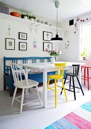 White Dining Room Bench by Whimsical Colorful Dining Room Table Bench Painted Chairs White