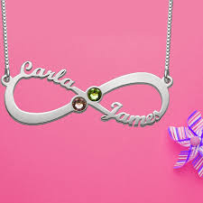 Infinity Name Necklace Infinity 4 Names Necklace With Birthstones