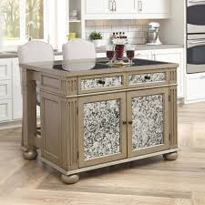visions kitchen island and two stools silver and gold champagne