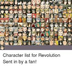 Meme Characters List - an opeg character list for revolution sent in by a fan naruto