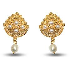 gold plated earrings buy surat diamond 24kt gold plated earrings with freshwater pearl