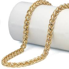 necklace gold man images Braided gold wheat link franco chain necklaces gold man stainless jpg