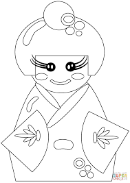 japanese doll coloring page free printable coloring pages